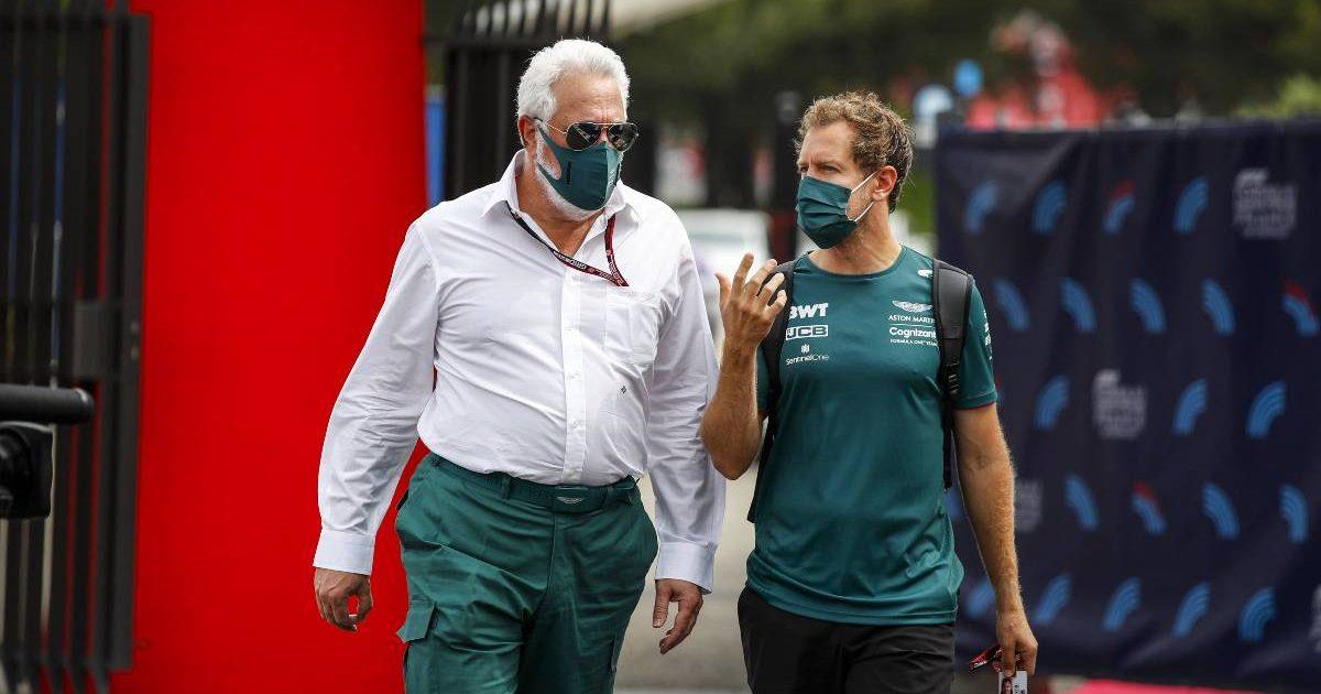 Sebastian Vettel and Lawrence Stroll at the French Grand Prix. Paul Ricard June 2021.