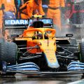 Lando Norris, McLaren, exits the pits. Hungary, August 2021.