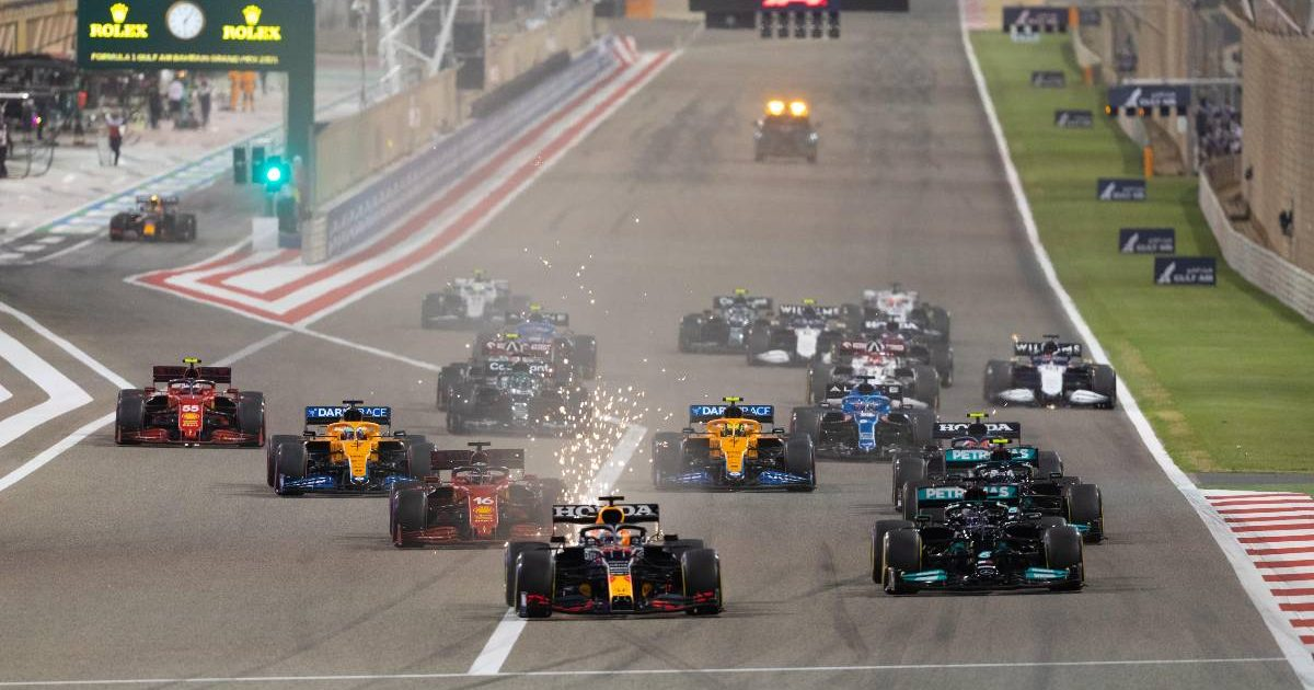 Max Verstappen leads going into turn one of the Bahrain Grand Prix. Sakhir March 2021.