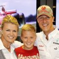 Corinna, Michael and Mick Schumacher pose for family shot. Nurburgring 2012.