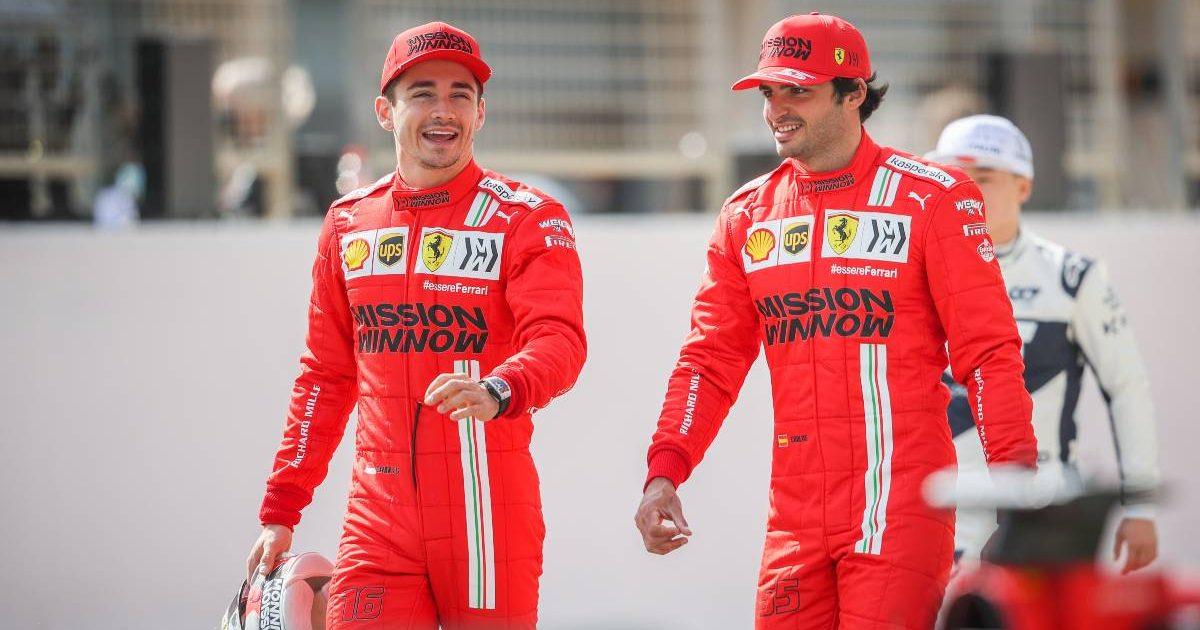 Charles Leclerc and Carlos Sainz share a joke. Bahrain March 2021.