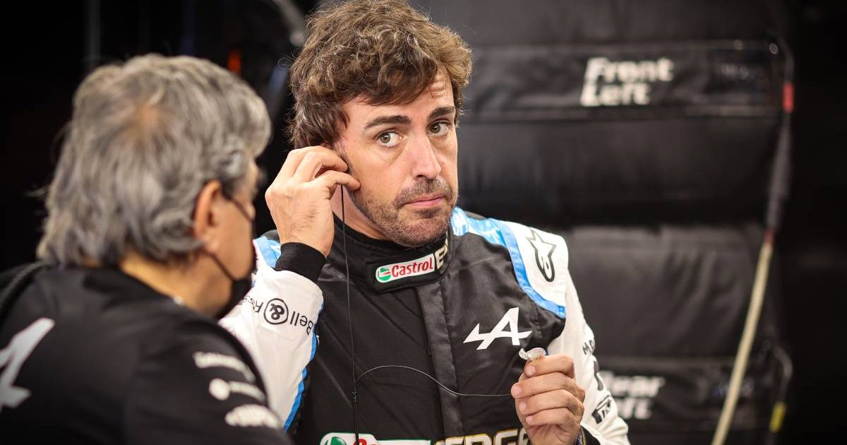 Fernando Alonso in Alpine overalls at the Hungarian GP. Hungaroring July 2021.