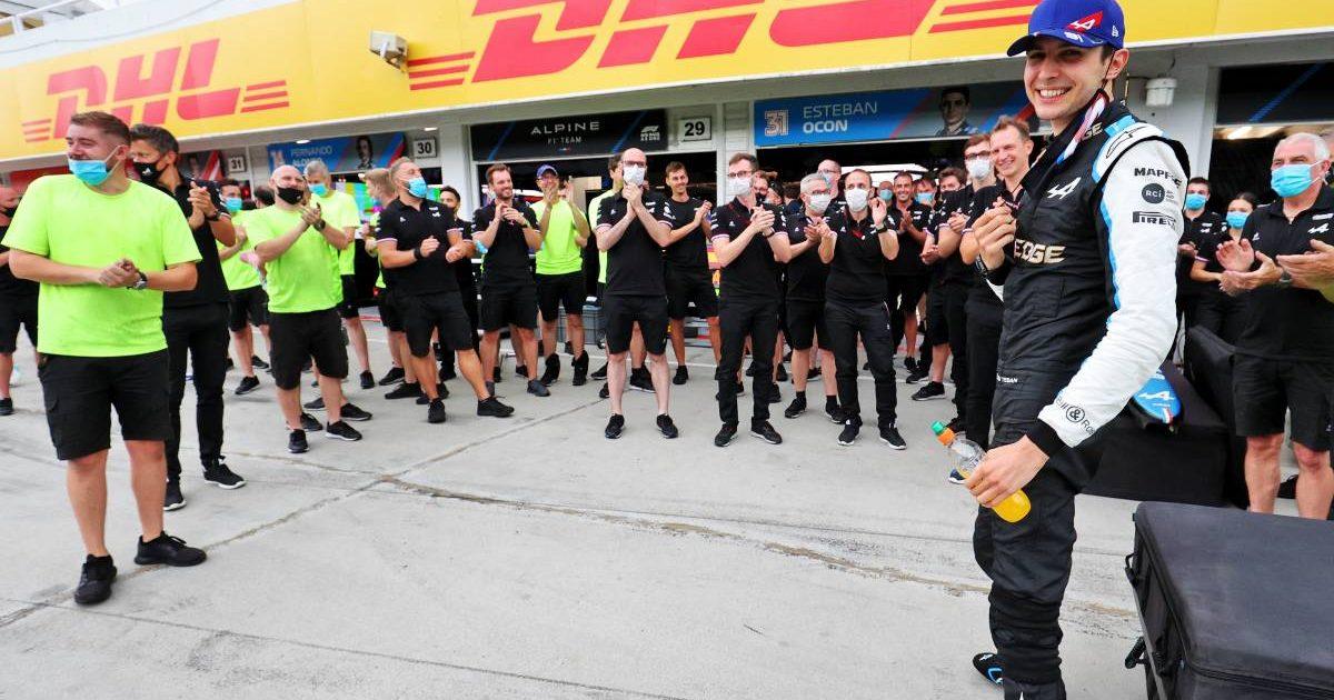 Alpine applaud Esteban Ocon after his Hungarian GP win. Hungaroring August 2021.