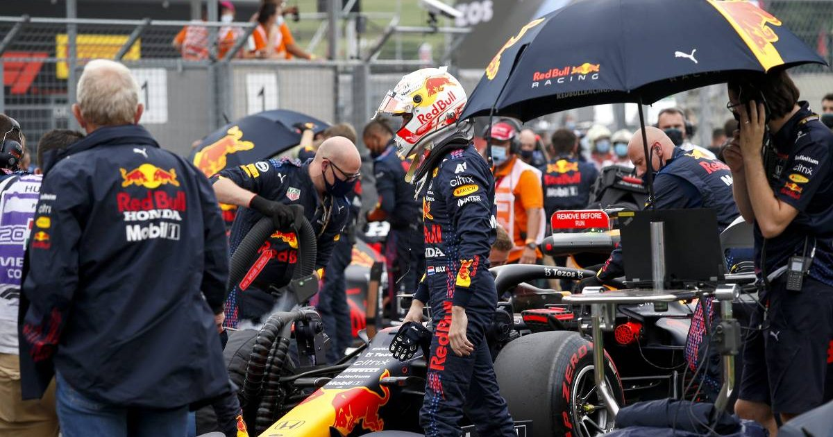 Max Verstappen next to his Red Bull car before the Hungarian GP. Hungaroring August 2021.