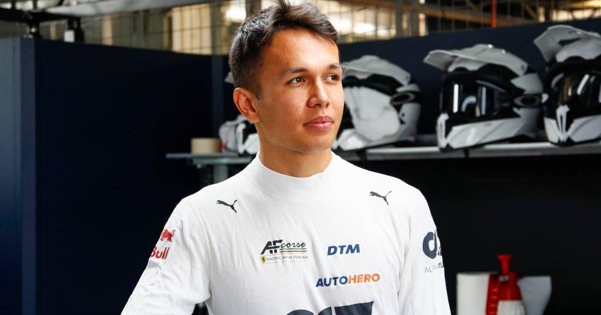 Alex Albon in DTM garage. Lausitzring July 2021.