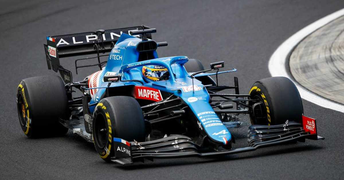 Fernando Alonso in action for Alpine in Hungary. August, 2021.