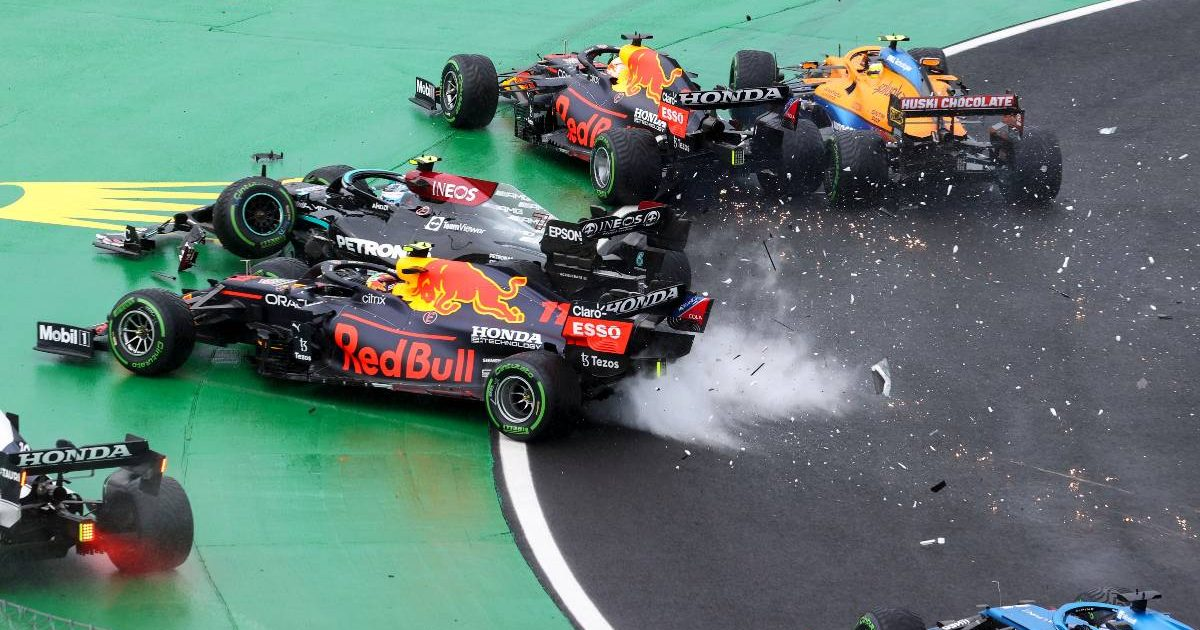 Valtteri Bottas causes a major crash on Lap 1 in Hungary. August, 2021.