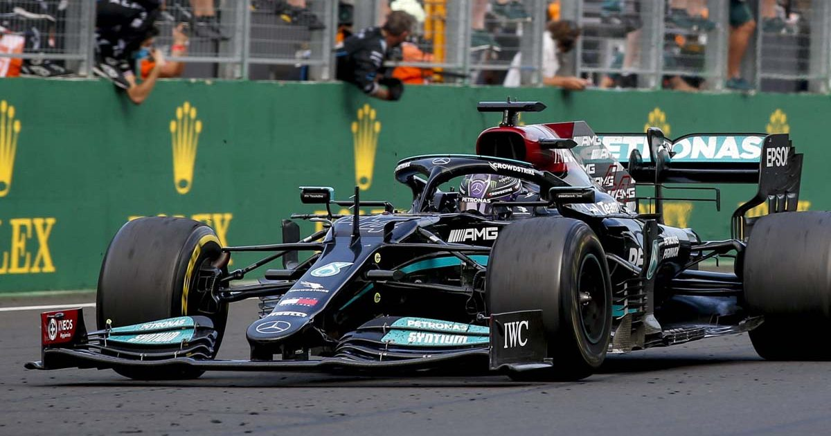 Mercedes driver Lewis Hamilton finishes the race.