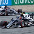 Pierre Gasly leads Yuki Tsunoda during the Austrian GP. Red Bull Ring July 2021.