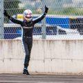 Alpine driver Esteban Ocon celebrates winning the Hungarian GP in 2021.