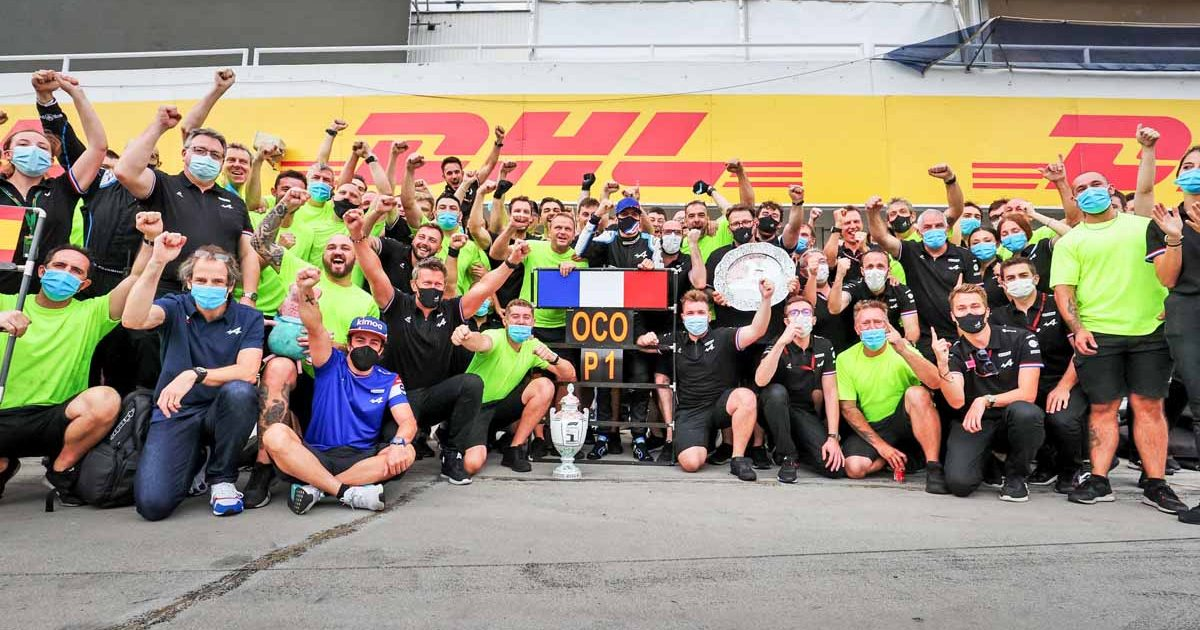 Alpine celebrate Esteban Ocon's victory in Hungary.
