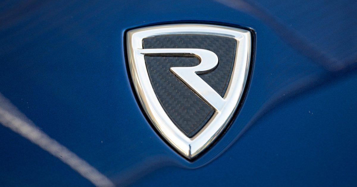 Rimac Automobili badge. Croatia, June 2021.