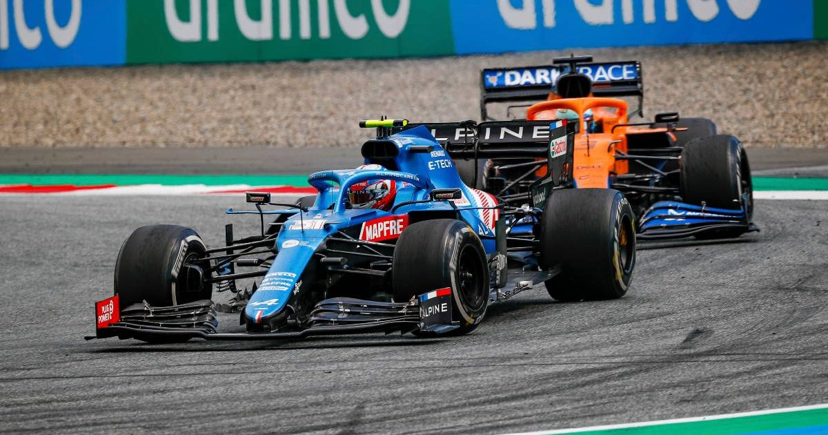 Esteban Ocon [Alpine] leading Daniel Ricciardo [McLaren]. Styria, June 2021.