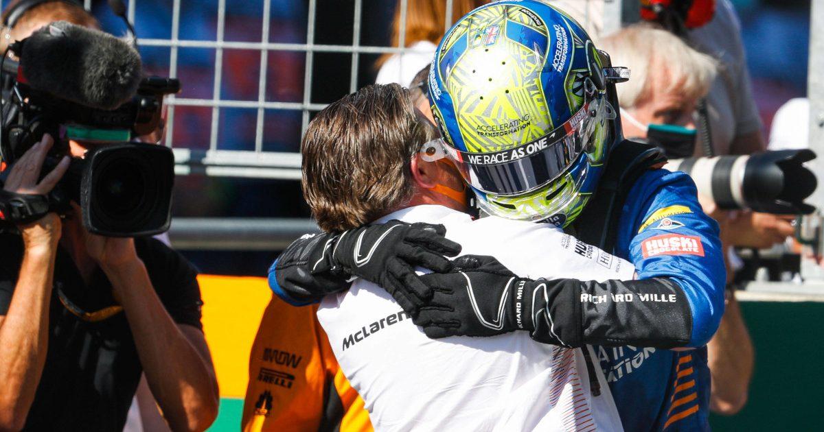 Lando Norris hugs Zak Brown. Austria July 2020