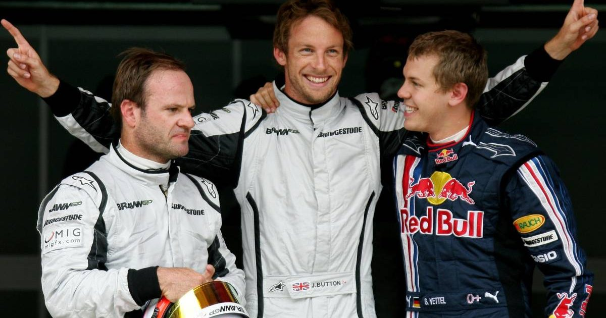 Jenson Button after Spanish GP qualifying, with Rubens Barrichello and Sebastian Vettel. Barcelona May 2009.