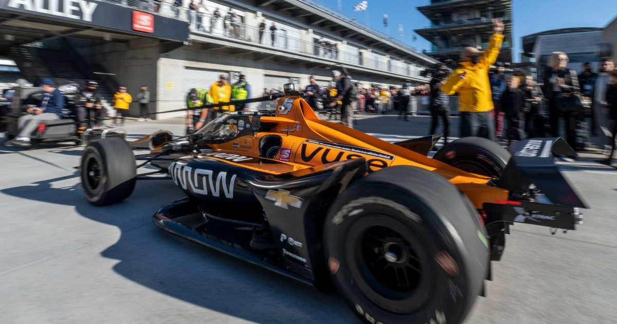 Pato O'Ward's Arrow Racing McLaren car enters the pits. Indianapolis May 2021.