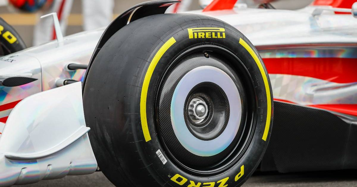 Front wheel of the prototype 2022 F1 car. Silverstone July 2021.