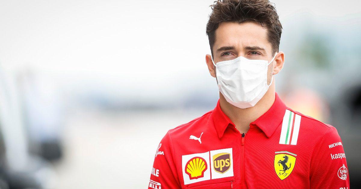 Charles Leclerc wearing his Ferrari polo shirt. Hungary, July 2021.