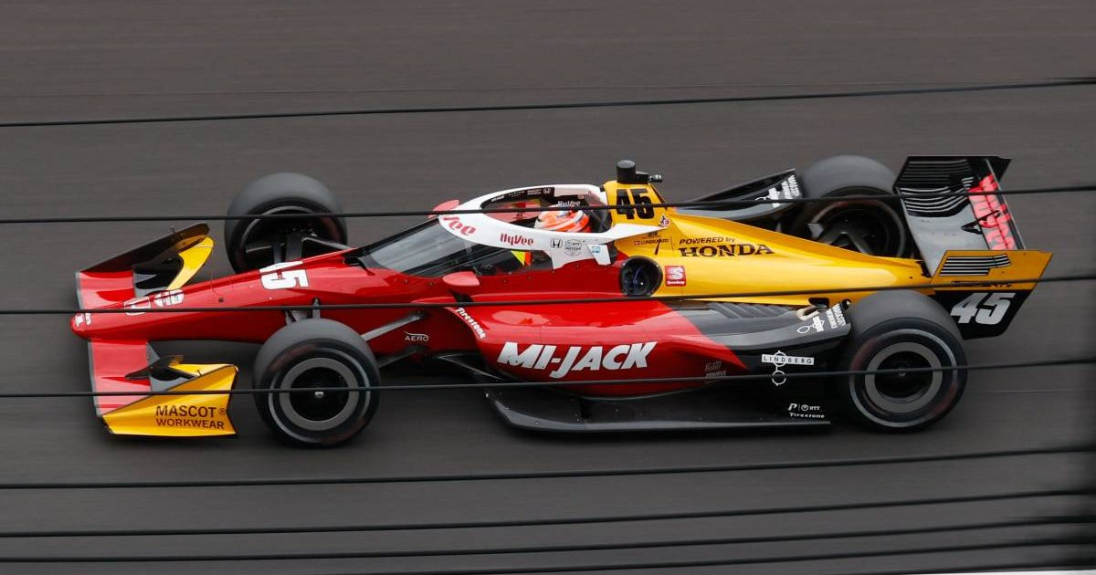 Christian Lundgaard driving an IndyCar on his practice debut. Indianapolis August 2021.