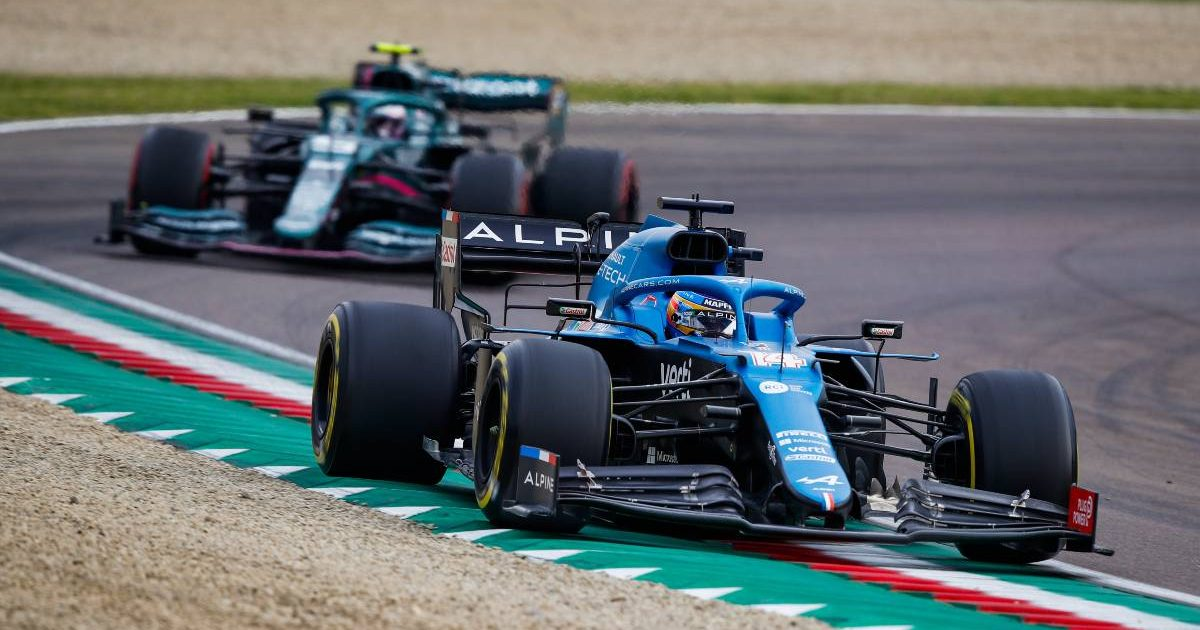 Fernando Alonso ahead of Sebastian Vettel at Imola. Italy, April 2021.