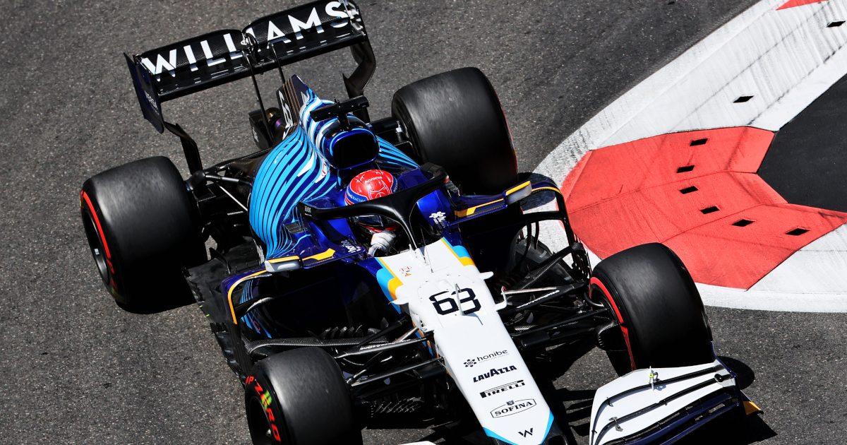 George Russell red Pirelli Williams. Azerbaijan June 2021