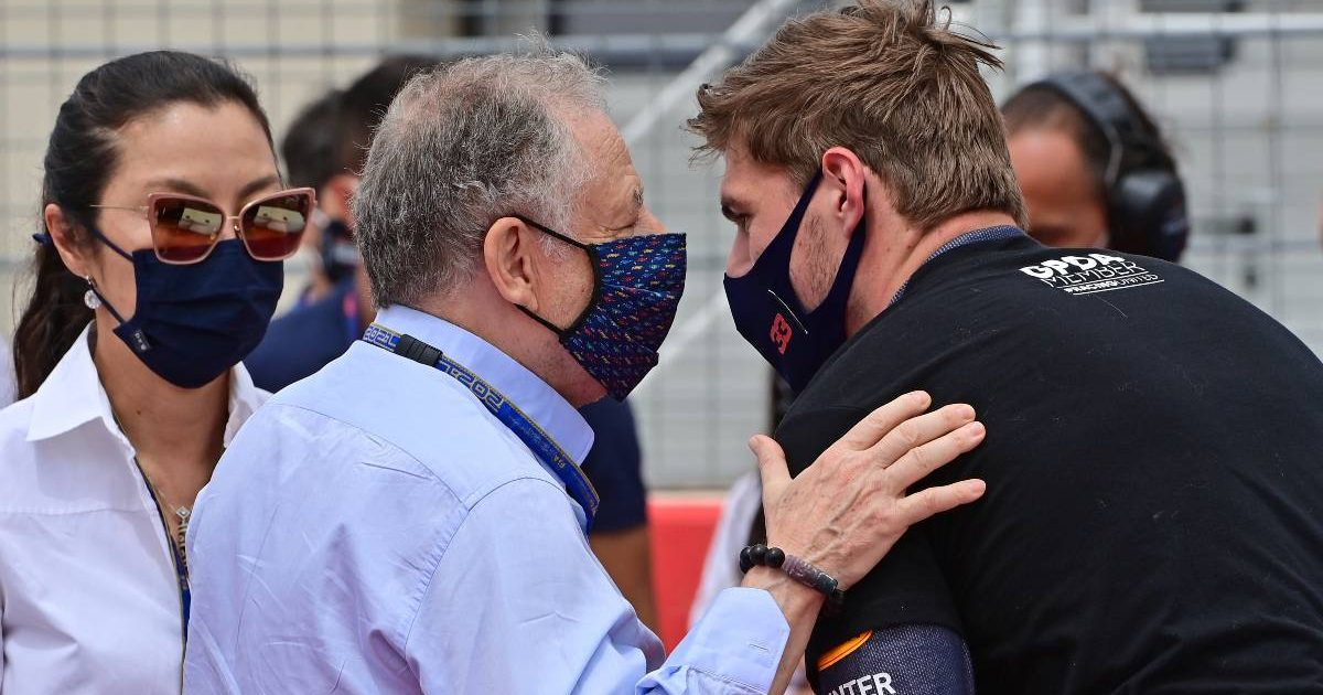 Jean Todt talks to Max Verstappen at the French Grand Prix. Paul Ricard June 2021.