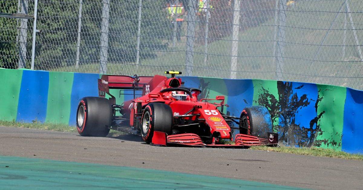 Carlos Sainz's Ferrari against the wall during Hungarian GP qualifying. Hungaroring July 2021.