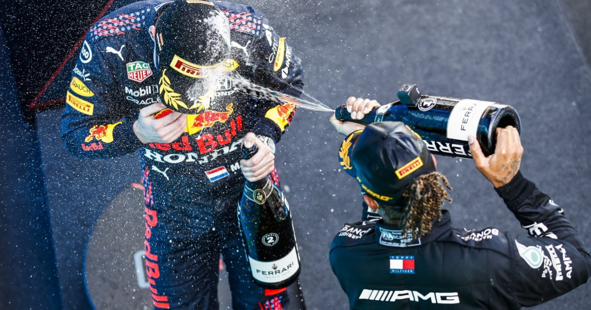 Lewis Hamilton champagne Max Verstappen. Spain May 2021