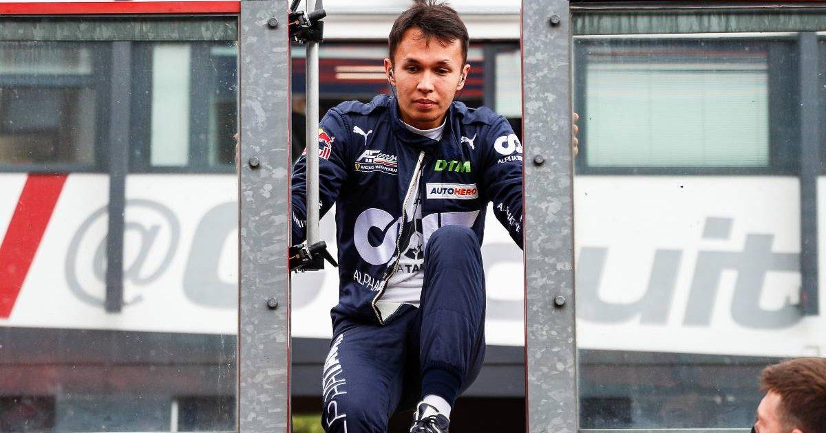 Alex Albon climbs through the wall at a DTM event. Belgium, August 2021.
