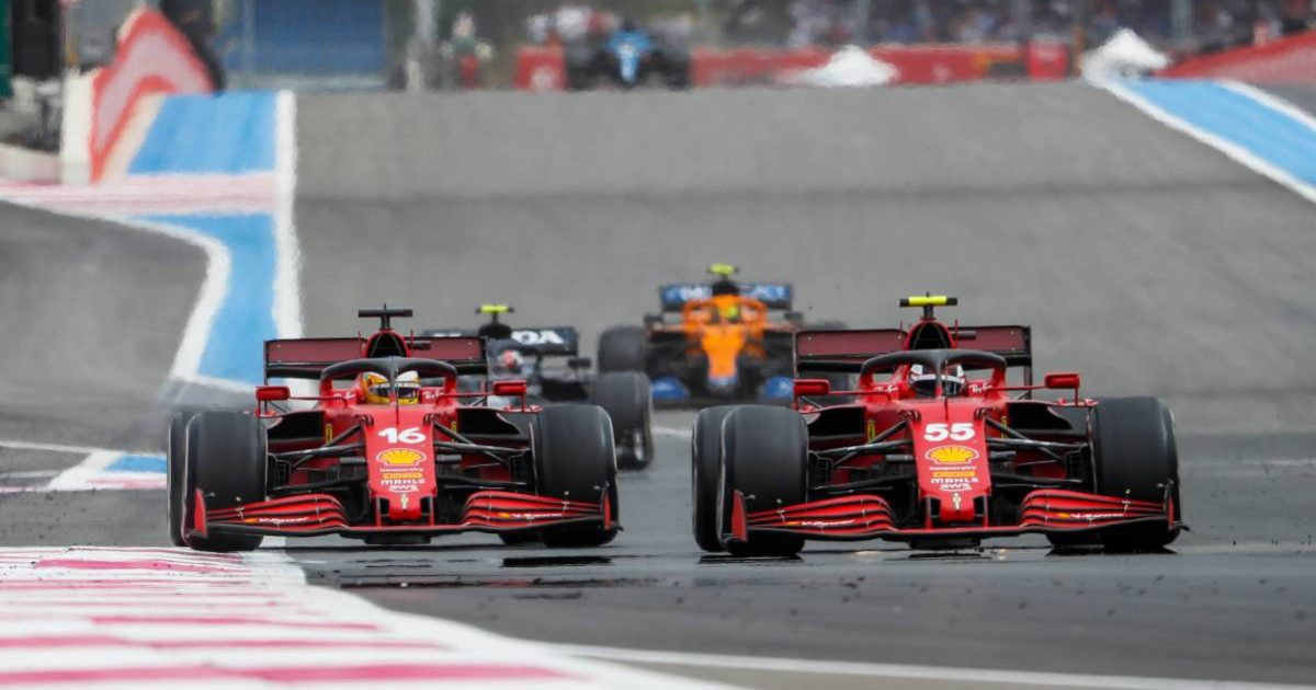 Charles Leclerc and Carlos Sainz during the French GP. Paul Ricard June 2021.