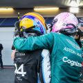 Fernando Alonso hugs Sebastian Vettel. Azerbaijan June 2021