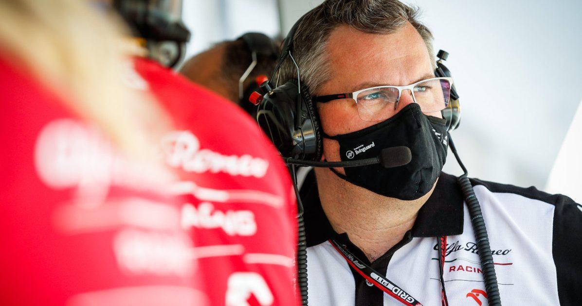 Jan Monchaux Alfa Romeo pit wall. Bahrain March 2021