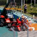 Carlos Sainz exits his Ferrari after crashing in Hungary qualifying. July, 2021.