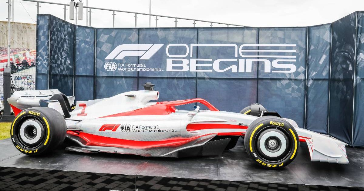 2022 prototype F1 car on display at the British GP. Silverstone July 2021.