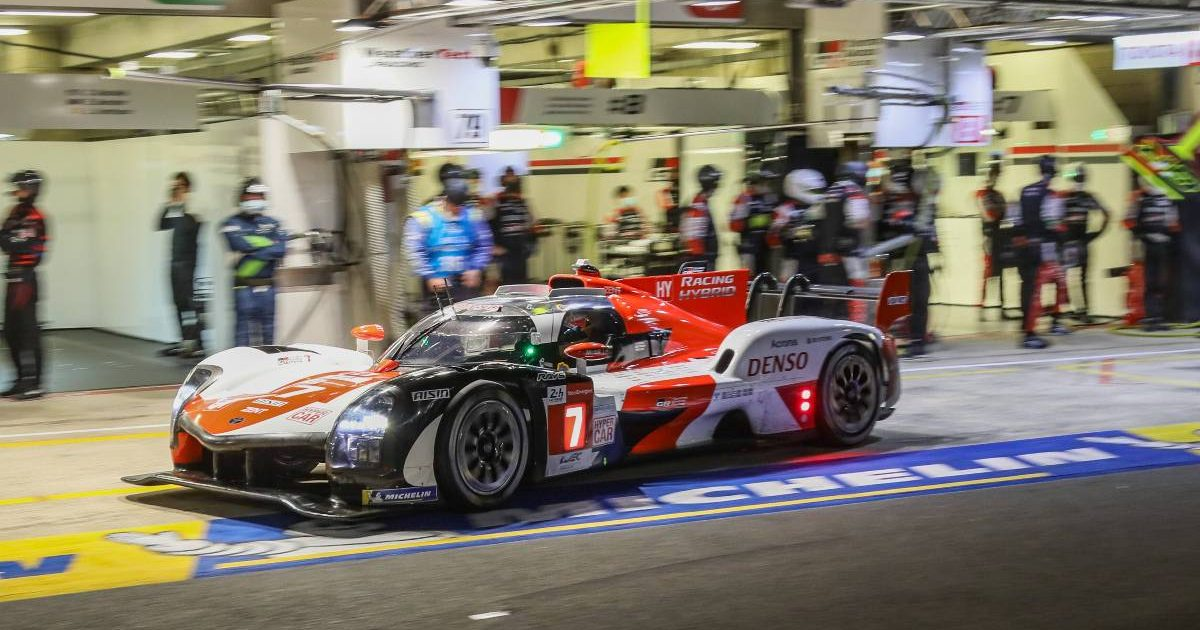 Kamui Kobayashi's Toyota Gazoo Racing Hypercar in the pits at Le Mans. August 2021.
