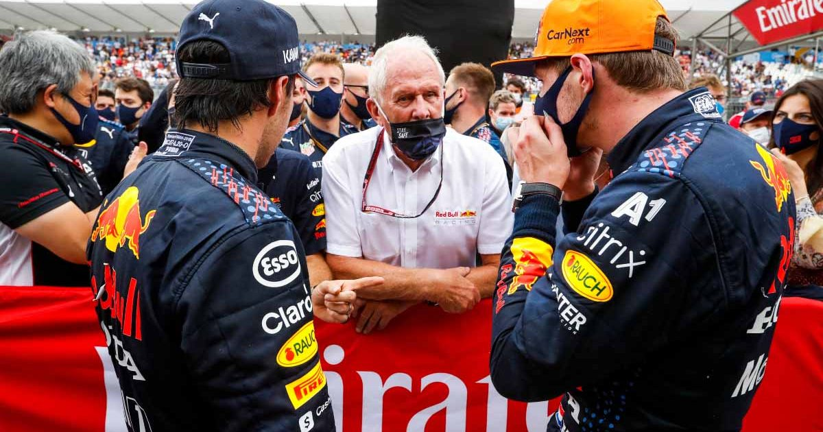 Sergio Perez, Helmut Marko and Max Verstappen chat at the 2021 French GP.