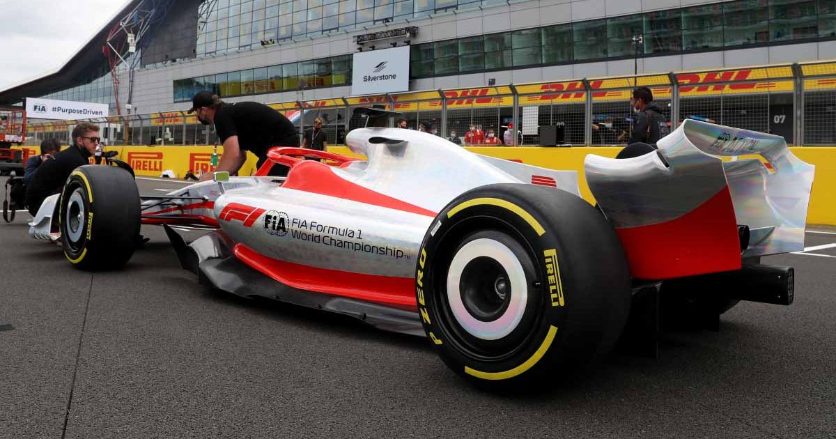 A rear view of the 2022 Formula 1 car with Pirelli tyres.