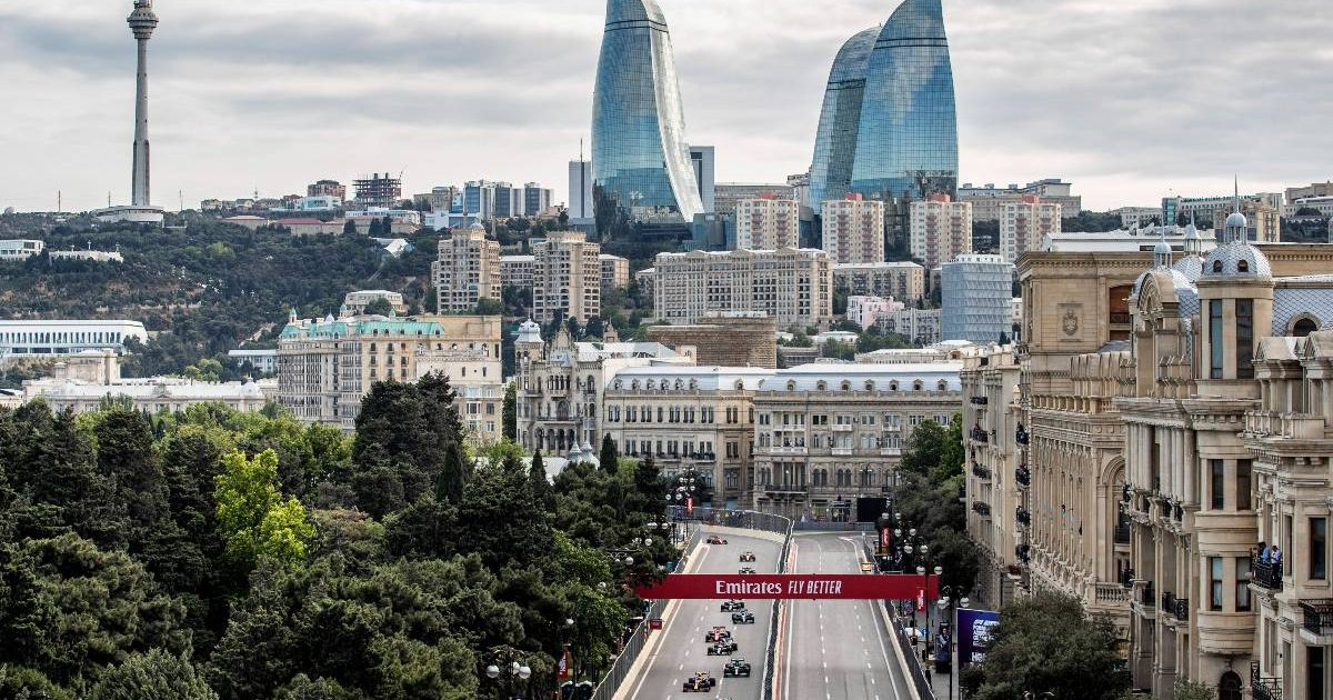 Max Verstappen leads during the Azerbaijan GP. Baku June 2021.