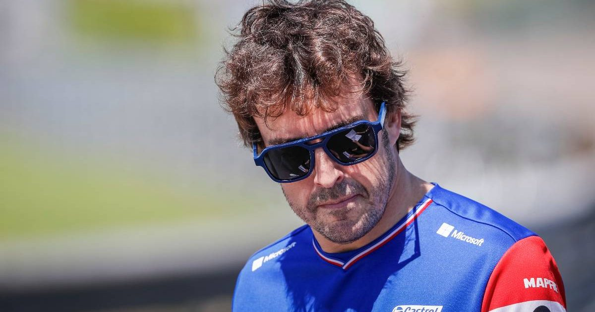 Fernando Alonso in his Alpine shirt. Hungary, July 2021.