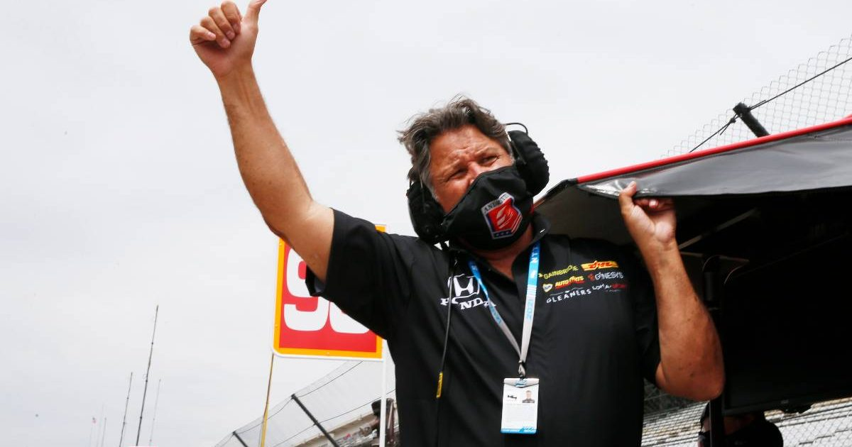 Michael Andretti gives thumbs-up during Indy500 practice. Indianapolis May 2021.