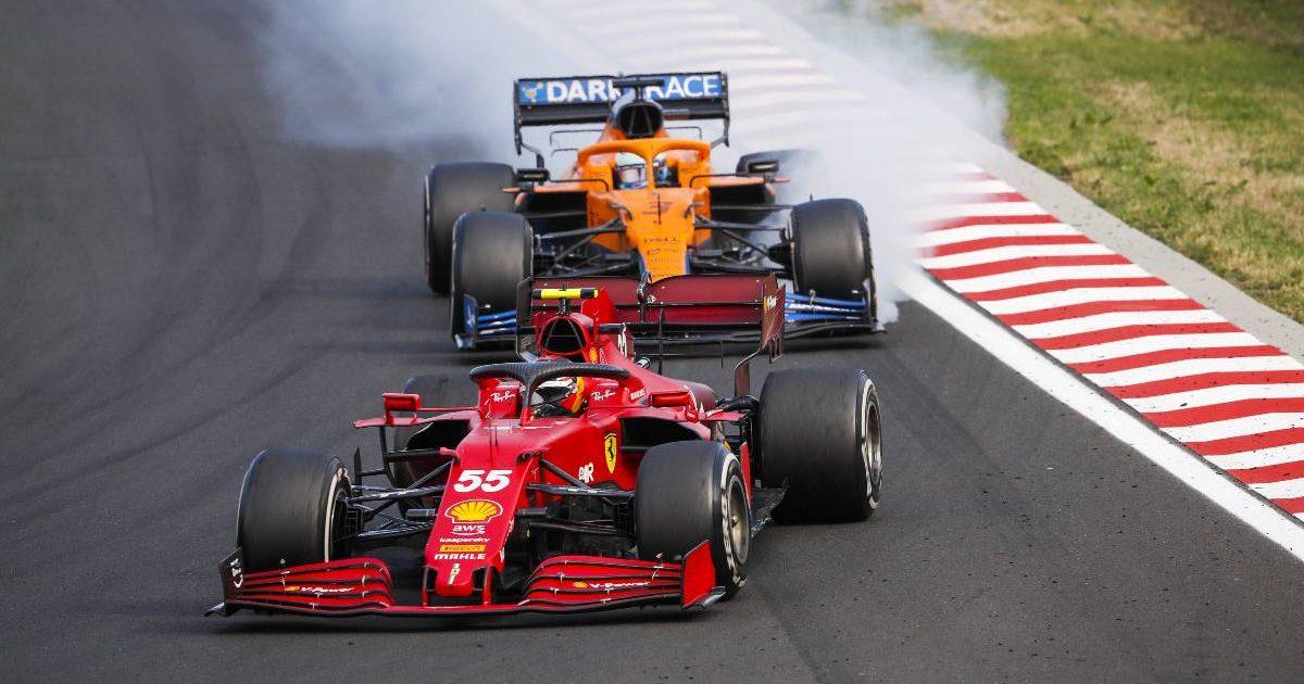Carlos Sainz ahead of Daniel Ricciardo during the Hungarian GP. Hungaroring August 2021.