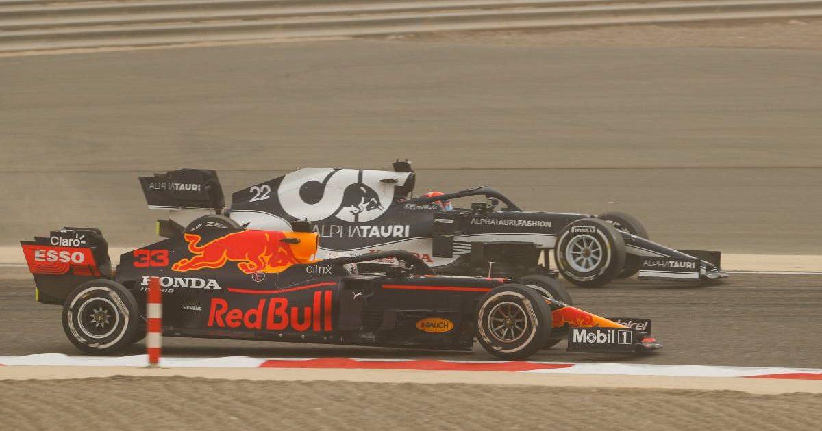 Max Verstappen alongside Yuki Tsunoda in pre-season testing. Bahrain March 2021.
