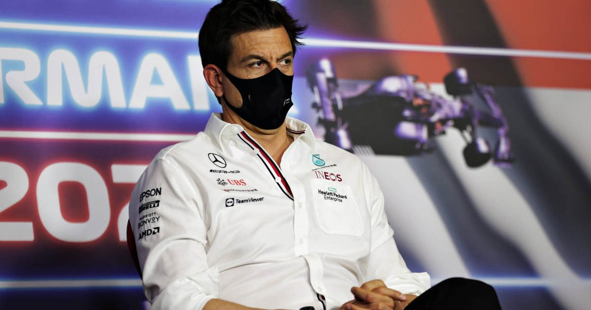 Mercedes team principal Toto Wolff speaks at a press conference