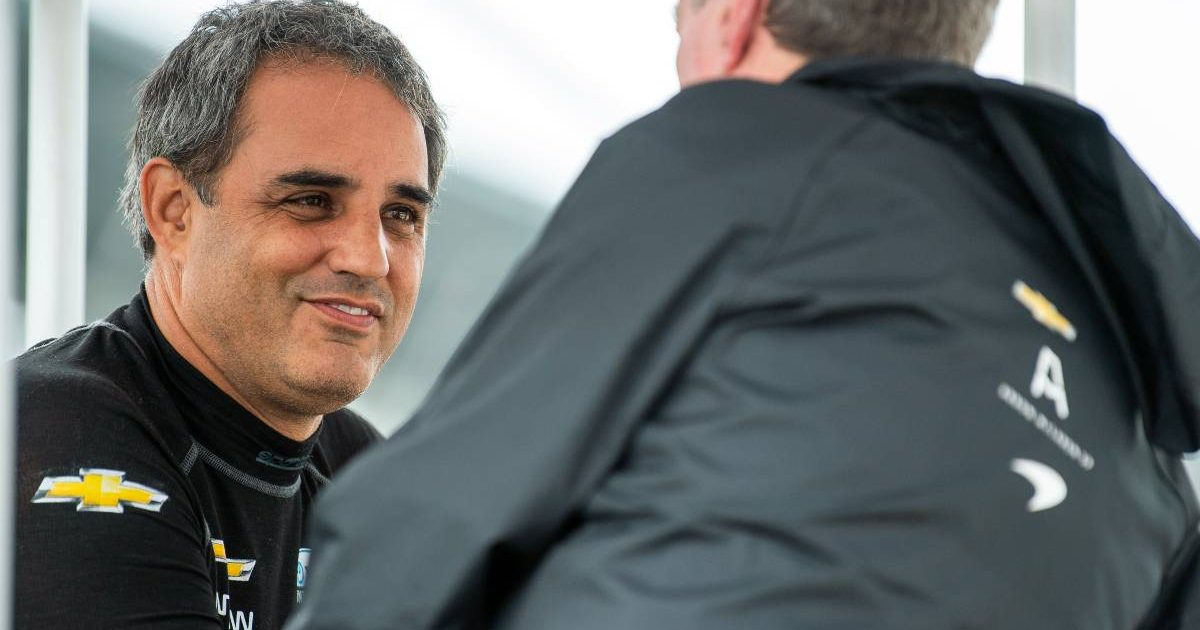 Juan Pablo Montoya in conversation on Indy 500 practice day. Indianapolis May 2021.