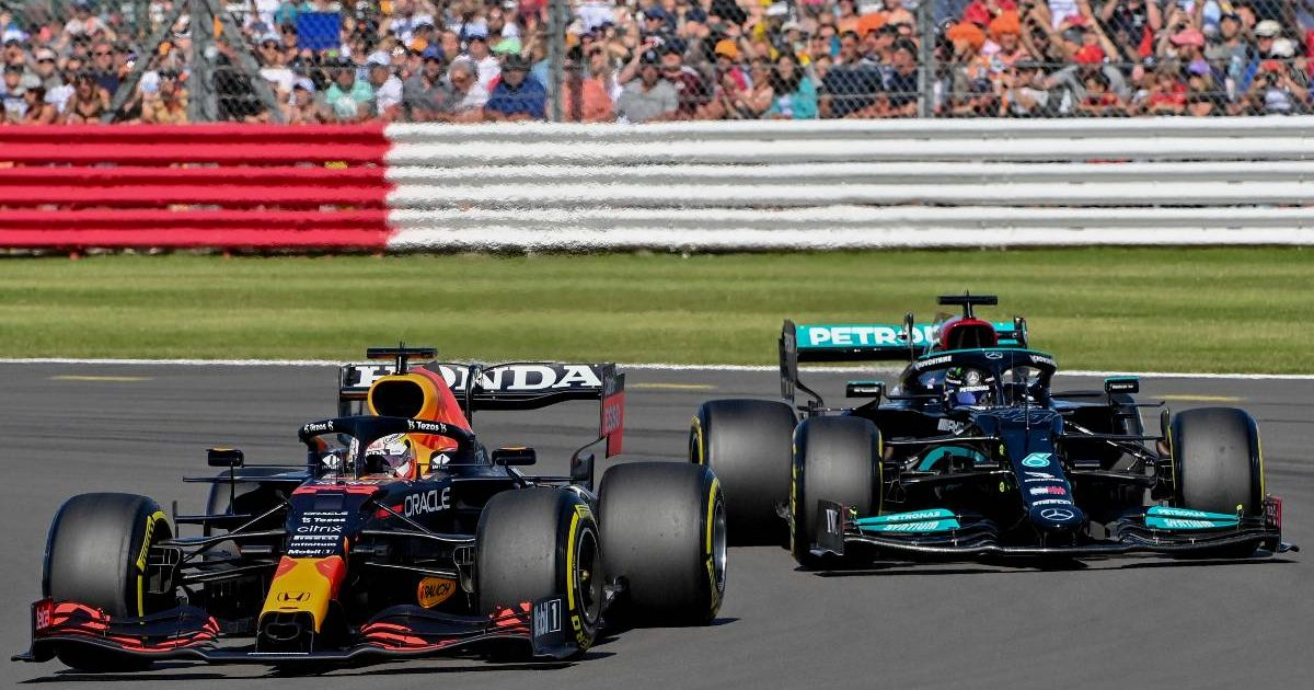 Max Verstappen ahead of Lewis Hamilton in sprint qualifying at the British GP. Silverstone July 2021.