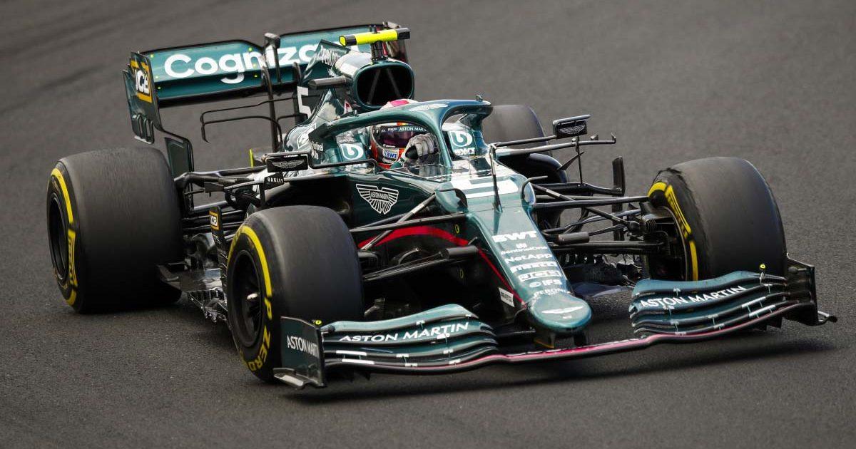 Sebastian Vettel drives his Aston Martin in Hungary. 2021.