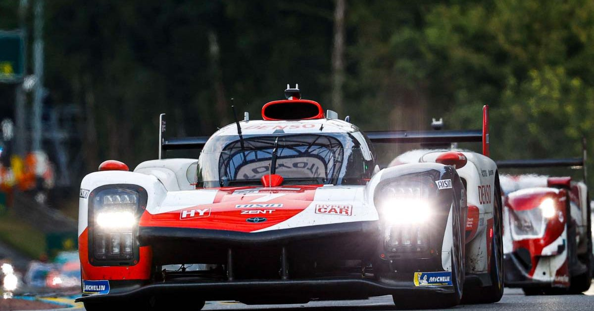 Kamui Kobayashi drives in the Le Mans 24 Hour race in 2021.