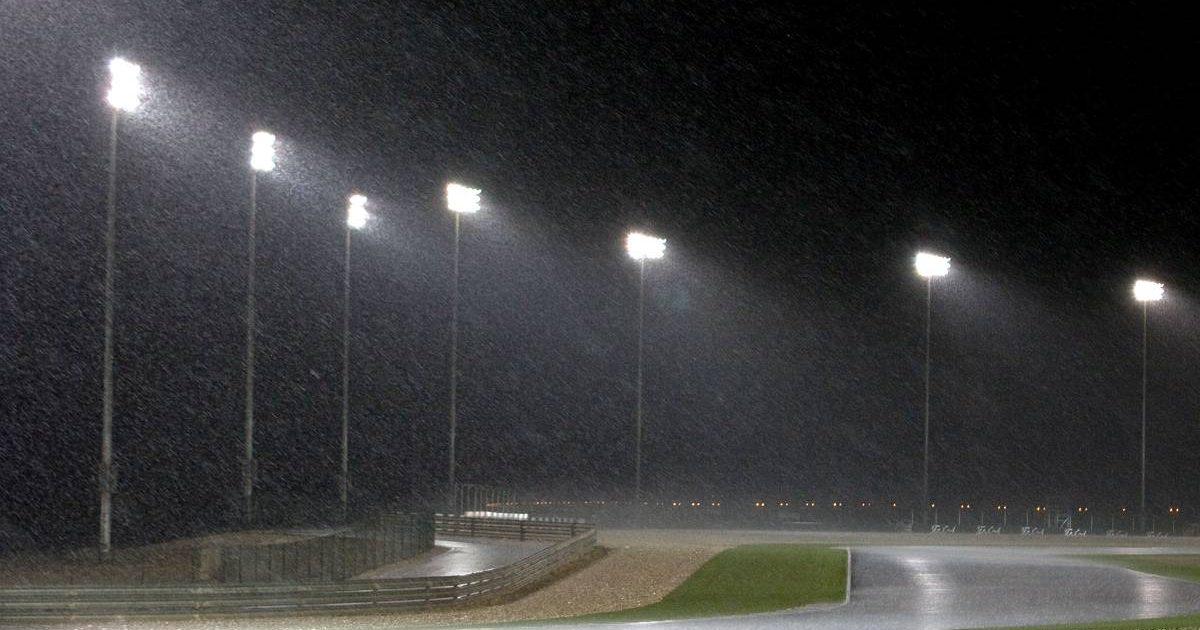 Rain at the Losail International Circuit in Qatar. April, 2009.