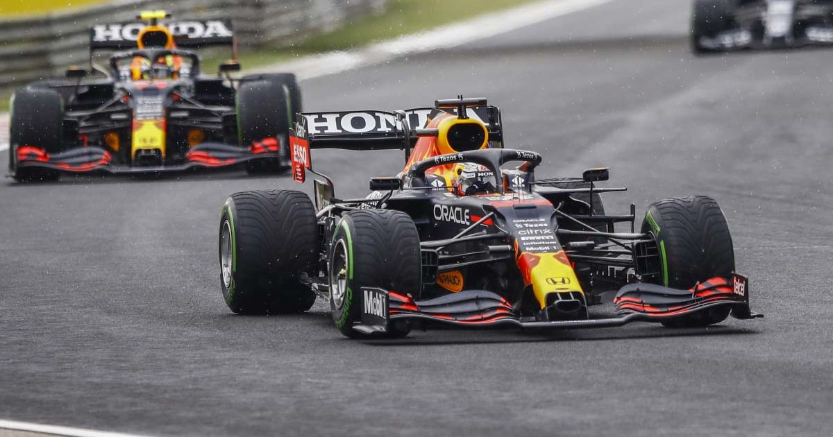 Max Verstappen leads Sergio Perez in Hungary. August 2021.