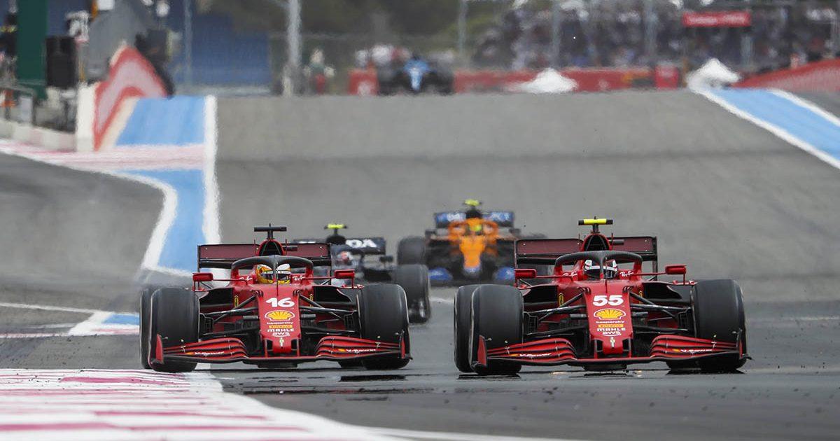 Ferrari drivers Carlos Sainz and Charles Leclerc. Paul Ricard June 2021